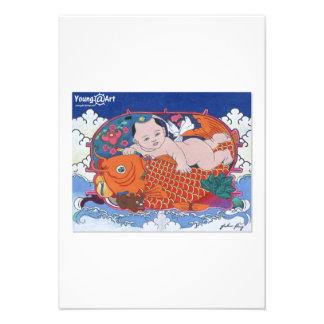 Tarjeta de felicitación grande de los pescados comunicado personalizado