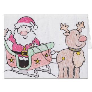 Tarjeta de felicitación grande de Santa y del reno