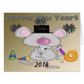 Tarjeta de felicitación grande del ratón del Año N
