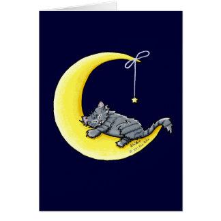 Tarjeta de felicitación gris del gato de Tabby del