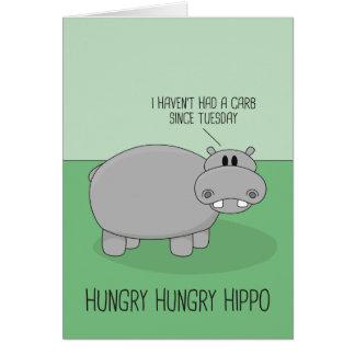 Tarjeta de felicitación hambrienta del hipopótamo