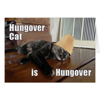 Tarjeta de felicitación Hungover del gato de la co