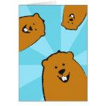 Tarjeta de felicitación ilustrada día de la marmot
