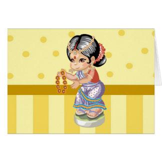 Tarjeta de felicitación india del chica
