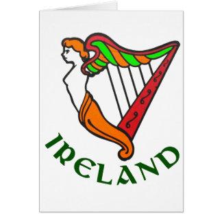 Tarjeta de felicitación irlandesa de la arpa