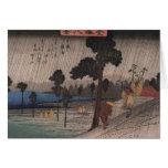 Tarjeta de felicitación japonesa de la lluvia