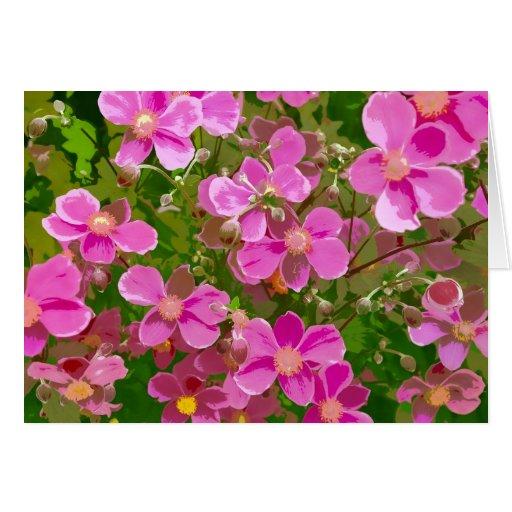 Tarjeta de felicitación japonesa rosada de la impr
