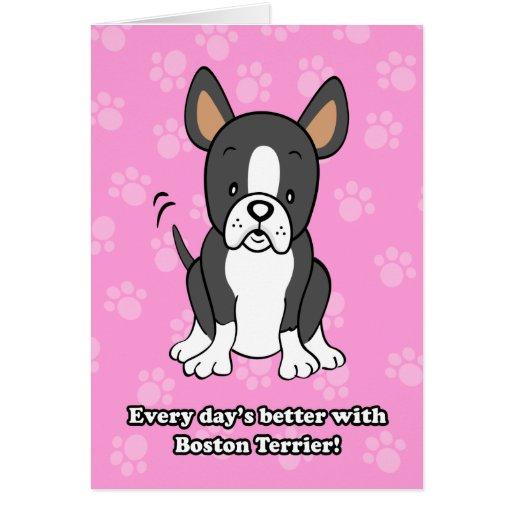 Tarjeta de felicitación linda de Boston Terrier de