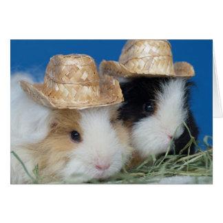 Tarjeta de felicitación linda de dos conejillos de