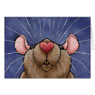 Tarjeta de felicitación linda de la rata del coraz