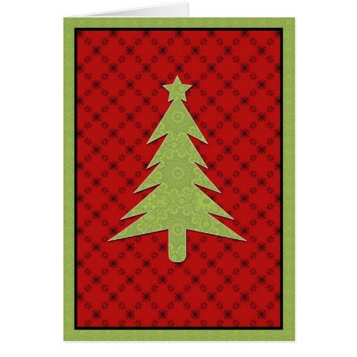 Tarjeta de felicitación linda del árbol de navidad