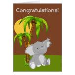 Tarjeta de felicitación linda del elefante del beb
