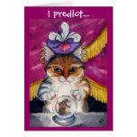 Tarjeta de felicitación linda del gato del adivino