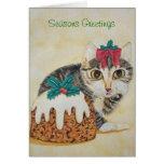 tarjeta de felicitación linda del gato del pudín d