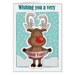 Tarjeta de felicitación linda del navidad del reno