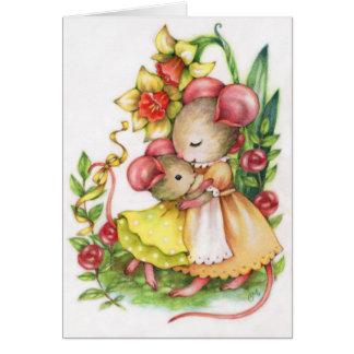 Tarjeta de felicitación linda del ratón de los