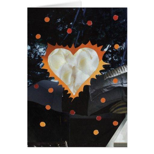 Tarjeta de felicitación llameante del corazón de l