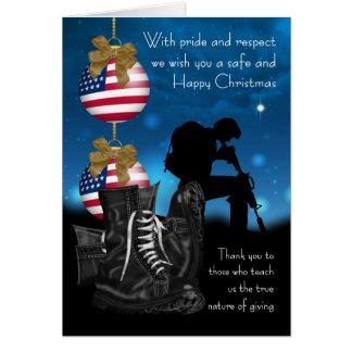 Tarjeta de felicitación militar del navidad con