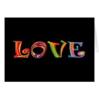 Tarjeta de felicitación multicolora del amor