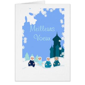 tarjeta de felicitación muñecas rusas azules