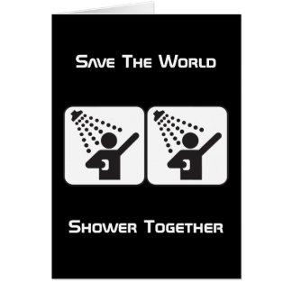 Tarjeta de felicitación negativa de la ducha junto