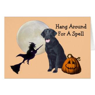 Tarjeta de felicitación negra de Halloween del lab