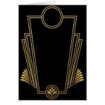 Tarjeta de felicitación negra del art déco del oro