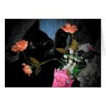 Tarjeta de felicitación negra del gatito y de las