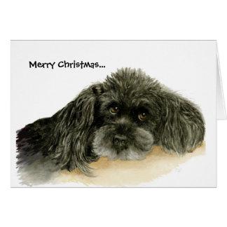 Tarjeta de felicitación negra del navidad del cani