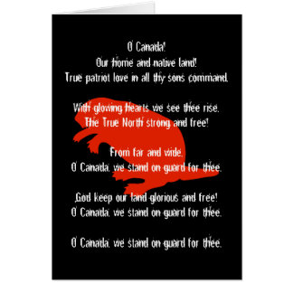 Tarjeta de felicitación negra roja del himno del c