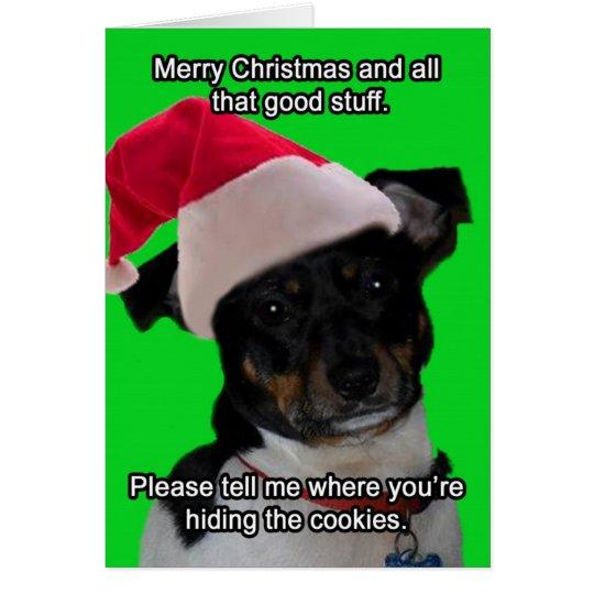 Tarjeta de felicitación Nerdy de Santa del perro