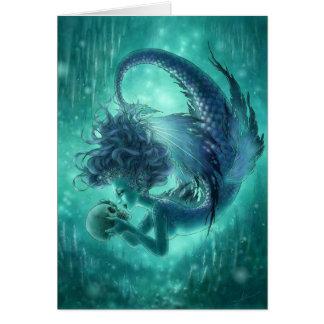 Tarjeta de felicitación oscura de la sirena - beso