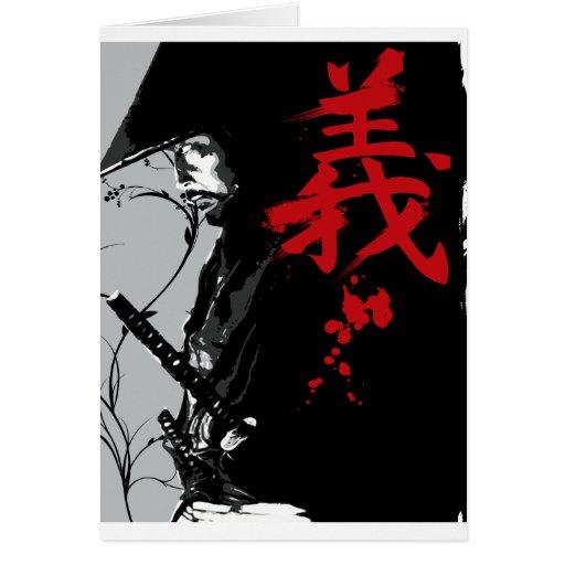 Tarjeta de felicitación oscura del samurai del SOL