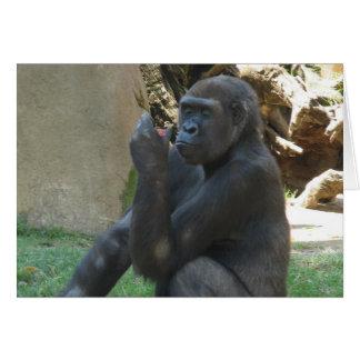 Tarjeta de felicitación pensativa del gorila