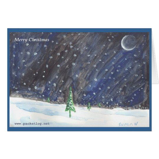 Tarjeta de felicitación pintada a mano del navidad