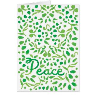Tarjeta de felicitación pintada a mano verde de la