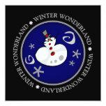 Tarjeta de felicitación plana del muñeco de nieve invitación 13,3 cm x 13,3cm