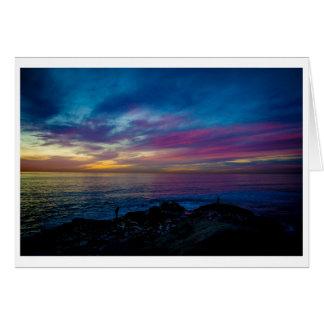 Tarjeta de felicitación - puesta del sol de la acu
