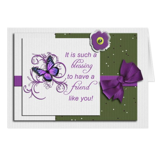 Tarjeta de felicitación púrpura bonita de la