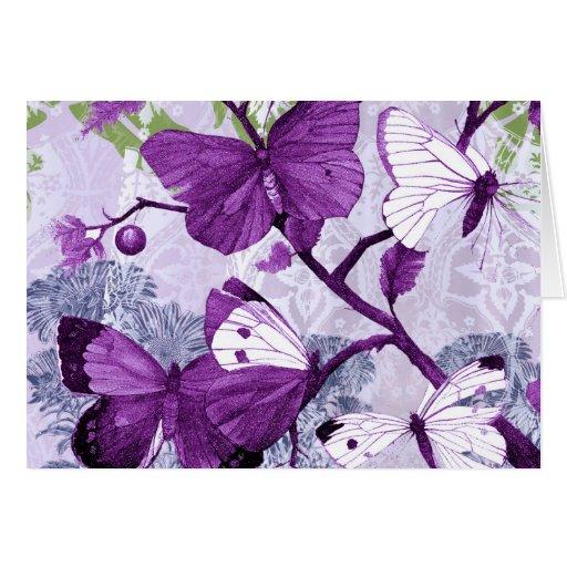 Tarjeta de felicitación púrpura de las mariposas