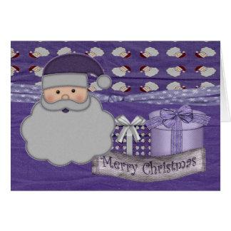 tarjeta de felicitación púrpura de santa del