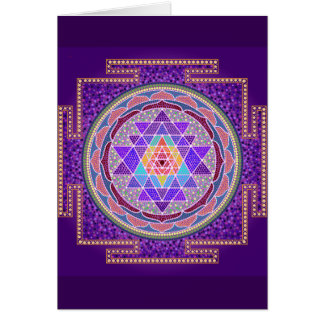 Tarjeta de felicitación púrpura de Sri Yantra