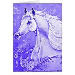 Tarjeta de felicitación púrpura del caballo