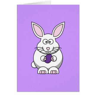 Tarjeta de felicitación púrpura del conejito del h