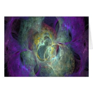 Tarjeta de felicitación púrpura y gris del espacio