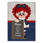 Tarjeta de felicitación Raggedy de la muñeca del
