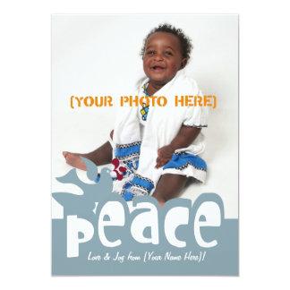 Tarjeta de felicitación retra de la paz y de la anuncio personalizado