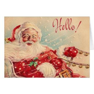 Tarjeta de felicitación retra de Santa del navidad