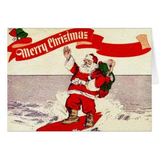 Tarjeta de felicitación retra de Santa que practic