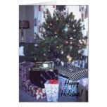 Tarjeta de felicitación retra del árbol de navidad